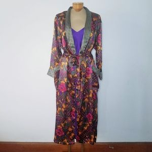 Vtg 80s satin floral lingerie robe and negligee M